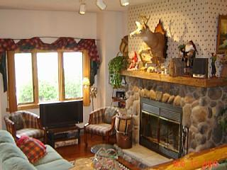 Living Room, 32 in HDTV, Fireplace - WATERFRONT Whiteface Club-FREE BEACH ACCESS - Lake Placid - rentals