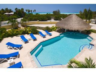 View of pool, gazebo and beach from crow's nest - Pelican Vista: Beauty and the Beach! - Providenciales - rentals