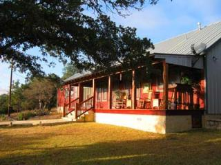 Huge porch with rocking chairs overlooking Hill Country - Private Hill Country Ranch -  Hot Tub, Wi-Fi - Fredericksburg - rentals