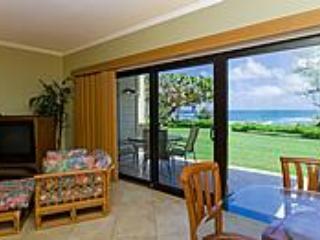 View from Condo of Lawn Area & Ocean - Kaha Lani #124 - Ocean Front Kapaa Condominium - Lihue - rentals