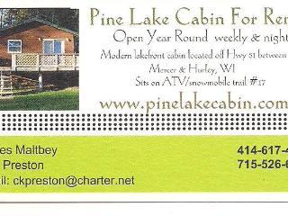 Pine Lake Cabin 4 Rent between Mercer & Hurley WI - Hurley vacation rentals