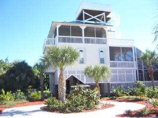 View from front of home - Beach Home w/ Screened In Pool, Hot Tub, Elevator - Captiva Island - rentals