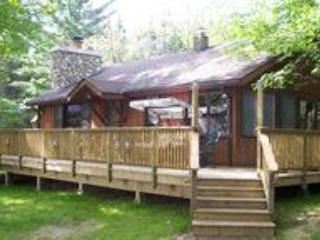 View of large deck and cabin - Jefferson's Landing Lakeside Cabin - Maki Cabin - Conover - rentals