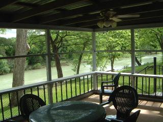 View of Guadalupe River from Guadalupe Haus sleeping 16 - Guadalupe River front houses sleeping 18 River RD - New Braunfels - rentals