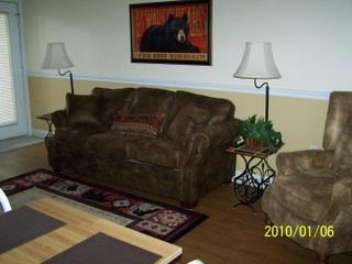 Cozy Living/Dining with Gas Fireplace - #104 - Chateau- 2 Bedroom Condo - Gatlinburg - rentals