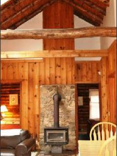 Cathedral ceiling - Shavers Fork Riverfront Log Cabin - Swinging Vine - Elkins - rentals
