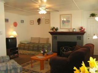Living room w/fireplace, twin bed - 1 BR/1BA Duplex Unit - Seaside - rentals