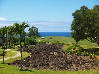 Emmalani Court 524: Spacious, ocean view, air-conditioned, walk to beach. - Princeville vacation rentals