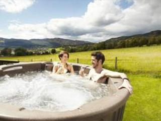 Having a great time in the private hot tub at Kinnaird Woodland Lodges - and what a panoramic view! - Couples Spa Lodge with Hot Tub - Pitlochry - rentals