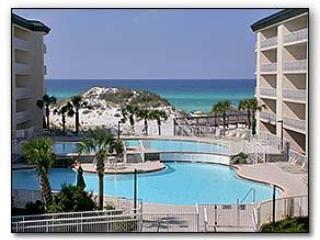 View from Balcony of 7500 sq ft pool and Gulf - 2 Bedroom 2 Bathroom Condo in Santa Rosa Beach, FL - Seagrove Beach - rentals