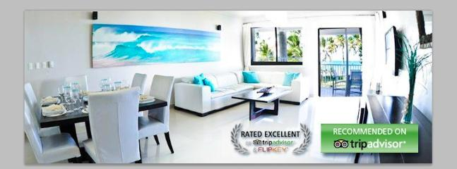 Dining and living room with Ocean front view! - Beachfront Contemporary Condo + Maid Service - Punta Cana - rentals