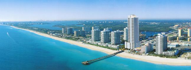 La Perla building and pier view from the ocean - La Perla Ocean Resort Condominiums - Sunny Isles Beach - rentals