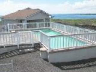 Entrance to home with pool, washer, dryer in garage, outside seating, barbecue and great view - House of Love by the Sea/ Own Pool and Ocean Front - Keaau - rentals