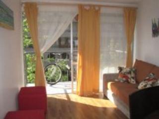 Living con un sillon que se puede utilizar como cama. Y dos puf. balcon con una bicicleta y dos puf - Furnished apartment two blocks from the Metro Park Bustamente - Santiago - rentals