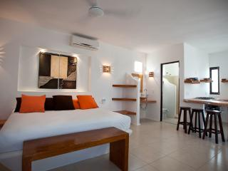 Chocolate's main bedroom, with the bathroom, and the open kitchen - Tamarindo II - Chocolate Apartment - Cozumel - rentals