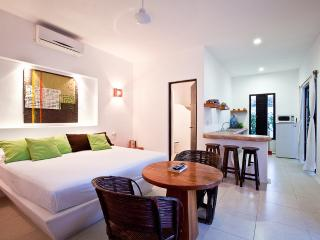The Lime apartment's main room, with its bathroom, and the open kitchen - Cozumel Suites - Lime Apartment - Cozumel - rentals