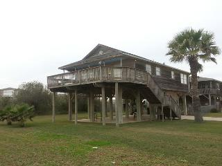Fantastic 2nd rown beach house- ocean view, large deck, surfing, fishing - Galveston vacation rentals