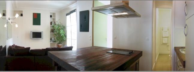 Living room and kitchen - Marais Pompidou - Pleasant 1 bedroom apartment - Paris - rentals