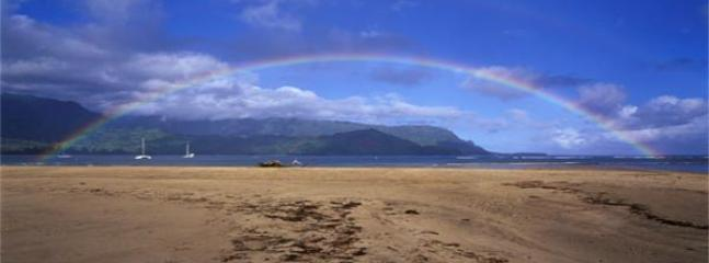 Rainbow over Hanalei Bay #1 beach in the world - Princeville Hale Moi 213A - Princeville - rentals