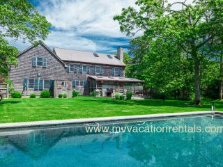 LEMAA - Katama Luxury Home - Private Heated Pool with Pool Bar and Patio, Private Landscaped Yard, Screened Porch with Dining Area and Outdoor Living Room, Spacious Deck overlooks Yard and Pool, A/C - Edgartown vacation rentals