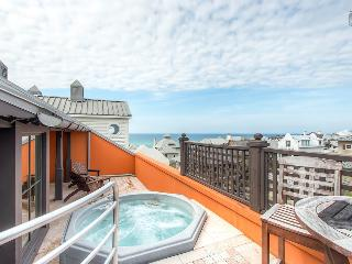 Penthouse condo in downtown Rosemary Beach with private elevator, rooftop deck, hot tub, and ocean views - Antigua Penthouse - Seacrest Beach vacation rentals