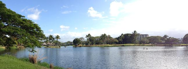 View of the building from the park. - Apartment overlooking Wailoa Park - Hilo - rentals