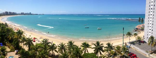 Panoramic View of Beach from Balcony - Spectacular View & Location! Stylish Beach Apt - Isla Verde - rentals