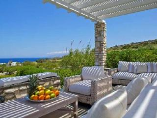 Modern stone façade villa Zefyros with lush sea view, helipad & beach access - Antiparos Town vacation rentals