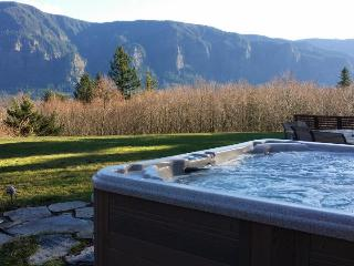 A private hot tub, stone patio & firepit with stunning Columbia Gorge views! - Stevenson vacation rentals