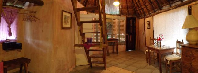 Room #4 at Casitas Kinsol -  A large room with a thatched roof and 2 full-size (double) beds - Casitas Kinsol Guesthouse -Room 4- Puerto Morelos - Puerto Morelos - rentals