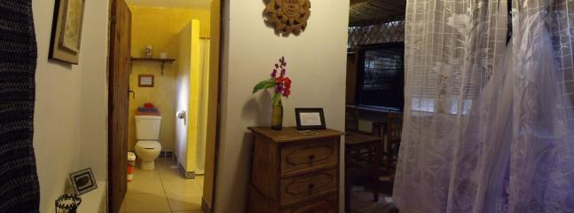 Room #6 at Casitas Kinsol - A small room with one full-size bed and a kitchenette - Casitas Kinsol Guesthouse -Room 6- Puerto Morelos - Puerto Morelos - rentals