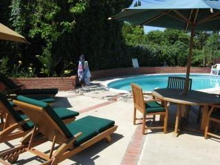 Relax  in the beautiful, tropical backyard soaking up the warm California weather. - Anaheim vacation rental walk to Disneyland with pool, spa and playroom - Anaheim - rentals