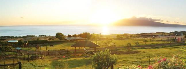 typical sunset from lanai (porch) of farm house - 180 degree Ocean & Mountain Views on 6 Acre Farm! - Lahaina - rentals