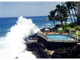 Poipu Shores's spectacular ocean overhang pool! - POIPU SHORES ..ON THE WATER!!! HEATED POOL..A/C!! - Poipu - rentals