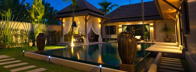 Pool & Garden at night - VILLA OASIS 3 BEDROOM LARGE POOL - GREAT LOCATION! - Nai Harn - rentals
