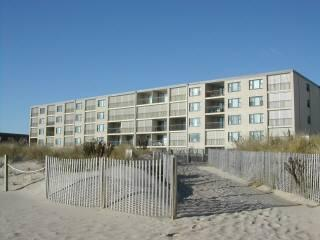 View from the ocean toward condo in upper right corner one level below the top condo. - OCEANFRONT-52nd St-Constellation House 411 - Ocean City - rentals