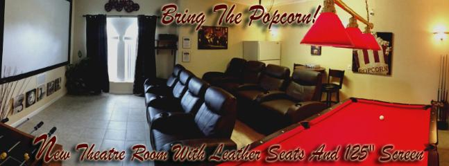 "Theatre Room with 10 foot screen and multi level leather theatre seating! - 125"" THEATRE ROOM!!  5 Bedroom - 5 Bath  ULTRA LUX - Haines City - rentals"