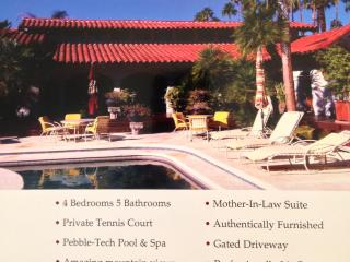 HUGE Ctry Club HM w/ priv tennis ct on  glf course - La Quinta vacation rentals