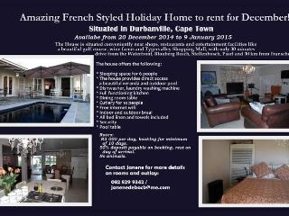 Charming 3 Bedroom Holiday Rental in Durbanville - Durbanville vacation rentals