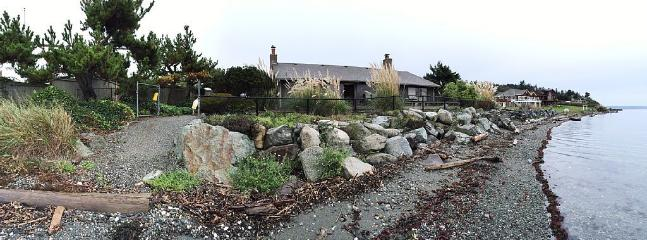 View of house taken from the beach at high tide - Mac's Landing - Cozy Beachfront Cabin - Clinton - rentals