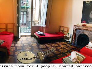 Private room for 4 shared bathroom - Palace Hostel - Barcelona vacation rentals
