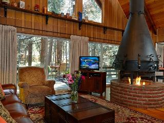 Gorgeous Living Room with Flat Screen TV and Vintage 1960's Firepace - Creekside Lodge - Idyllwild - rentals