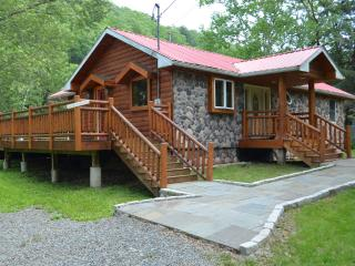 prestige waterfront custom log home - Hancock vacation rentals