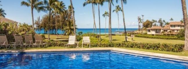 Manualoha 104, Beautifully decorated ocean view condo steps from Brennecke`s Beach. Sleeps 5. Free car* with stay of 7 nights or more. - Image 1 - Poipu - rentals
