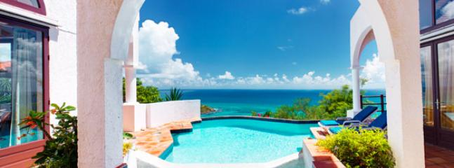 Leones... Oyster Pond, St Maarten 800 480 8555 - LEONES....Private love nest high on a hill with outstanding views of the ocean and St Barths - Oyster Pond - rentals