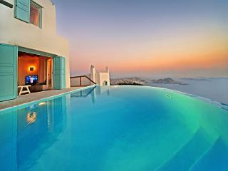 Greek VIllas Mykonos -  Azure Seaview Villa w 4 B/R  tennis and helipad - Mykonos vacation rentals