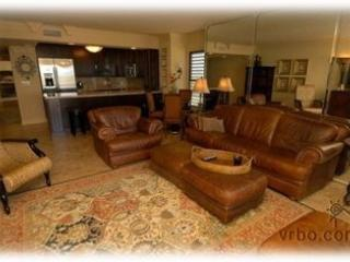 Leather sofa, plenty of seating. - I R P  -  Beachfront Condo -- Spoonbill - Stuart - rentals