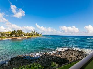 Kuhio Shores 207 Spectacular oceanfront 1bd with awesome ocean views. Watch the sea turtles from your lanai. Free car with stays 7 nts or more* - Poipu vacation rentals