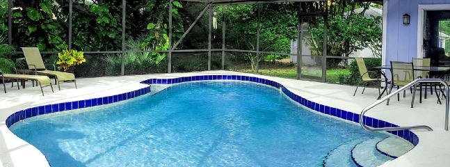 Relax in our heated, screened in pool. - Sasala Seaside Beach House with private pool - New Smyrna Beach - rentals