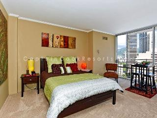 Stylish studio, kitchen, city/mtn views, close to everything!  Sleeps 2. - Waikiki vacation rentals